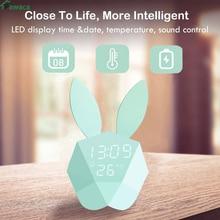 Cute Rabbit LED Digital Clock Alarm Clock kids mechanical Sound Sensitive Night Light Thermometer Rechargeable Table Wall Clocks