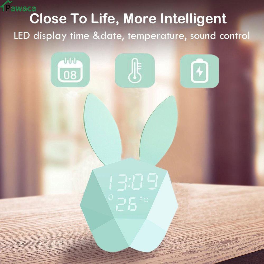 Niedlichen Kaninchen LED Digital Clock Wecker kinder mechanische Klingen Empfindlichen Nachtlicht Thermometer Wiederaufladbare Tisch Wanduhren