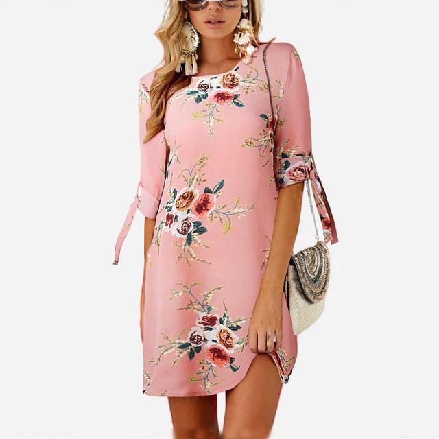 2018 Women Summer Dress Boho Style Floral Print Chiffon Beach Dress Tunic Sundress Loose Mini Party Dress Vestidos Plus Size 5XL 3