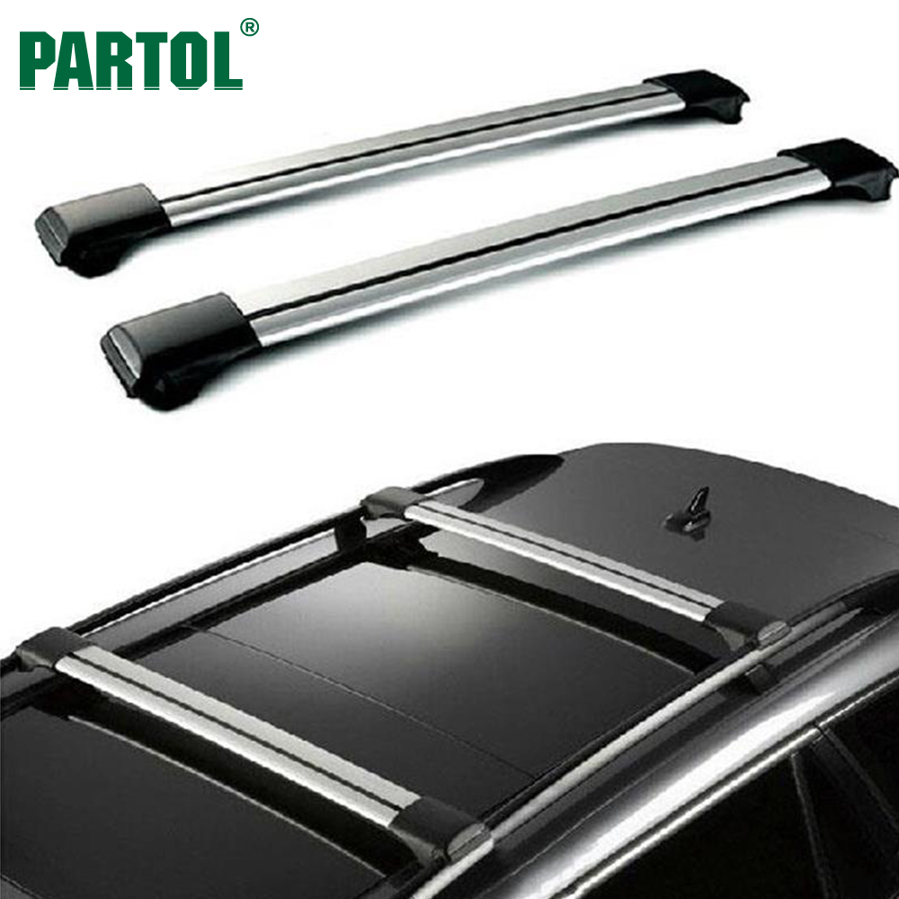 Partol 2Pcs/Set Universal Car Roof Racks Crossbars Cross Bars Kit W Anti-Theft Lock 68kg/150LBS Cargo Lugguage Top Fits 93~111cm partol car roof top cross bars roof rack cross bars rail carrier 150lbs aircraft aluminum for mazda cx 7 2007 2008 2009 2010 12