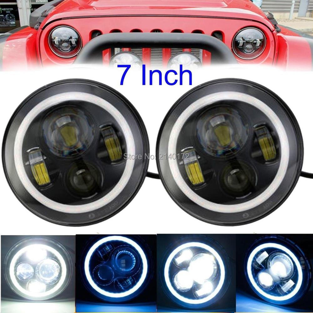 Black 7'' INCH Round LED Projector Headlight High/Low Beam + Blue Halo Ring Angel Eyes For Jeeps 97-15 Wrangler JK LJ TJ 7inch led motorcycle headlights 7 round 40w high low beam with angel eyes for 97 2015 jeeps wrangler jk