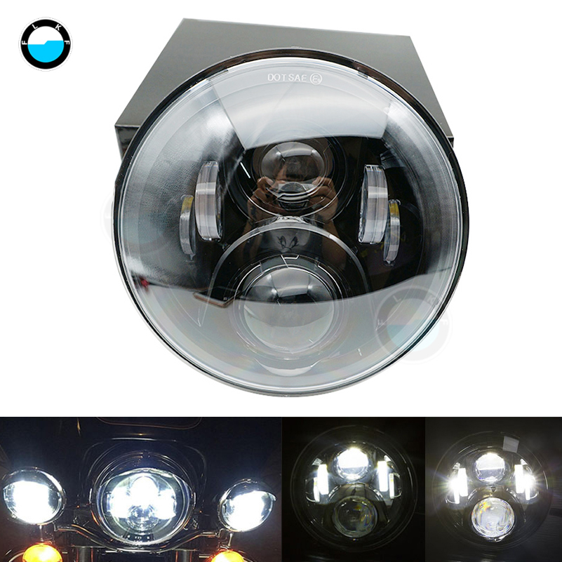 for Harley Davidson Motorcycles 7 Inch Led Headlight 45W Motorcycle Black Projector Headlight H4 Hi/Lo Beam LED Light