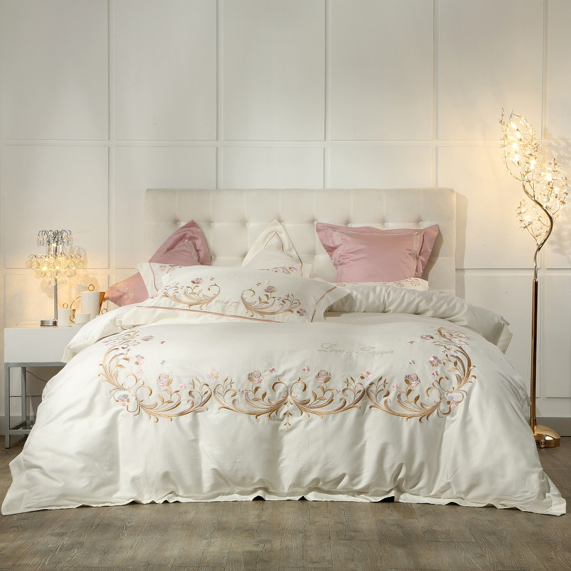 Cream Whie Grey Princess style Egyptian Cotton Bedding Set Queen King size Bed set Pink Purple