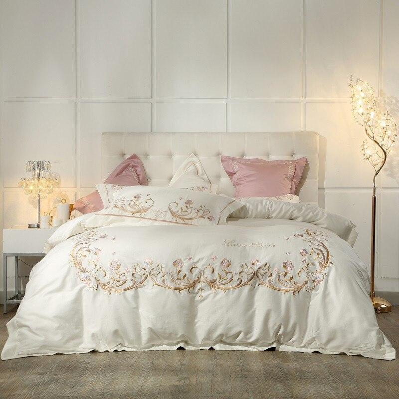 Juego de cama de algodón egipcio estilo princesa gris Cream Whie juego de cama tamaño Queen King cama rosa púrpura cama edredón cama hoja-in Juegos de ropa de cama from Hogar y Mascotas    1