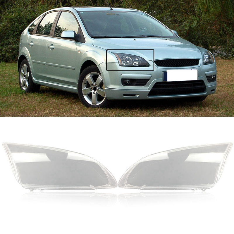 1Pair Front Left&Right Car Headlight Lens Light Cover For Ford Focus 2005 2006 2007 2008