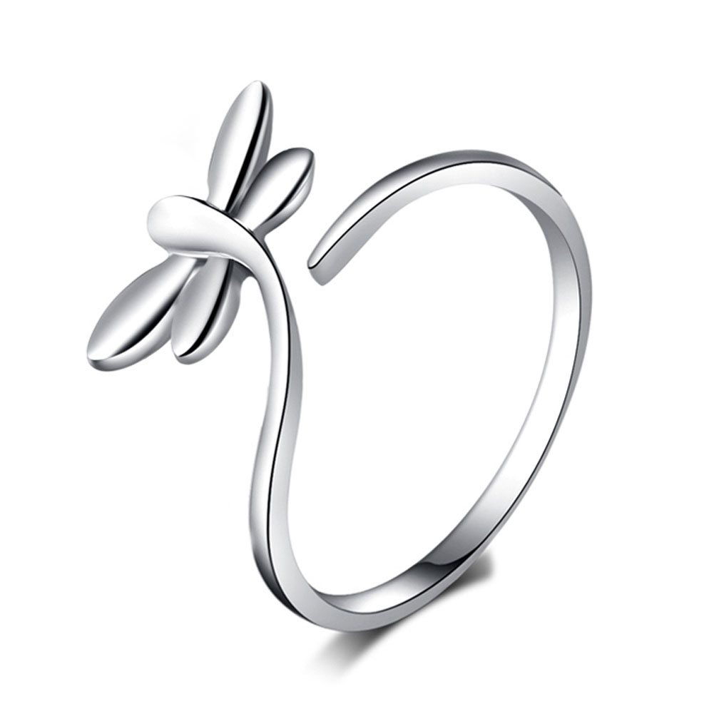 Charming Fine Jewelry Opening Adjustable Dragonfly Shaped Lady Finger Ring  Color Silver Plated RING-0065 2a578ae5e403
