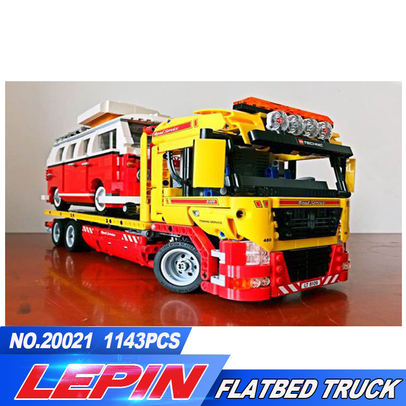 NEW LEPIN 20021 technic series 1143pcs Flatbed trailer Model Building blocks Bricks Compatible Toy Gift Educational Car 8109 technican technic 2 4ghz radio remote control flatbed trailer moc building block truck model brick educational rc toy with light