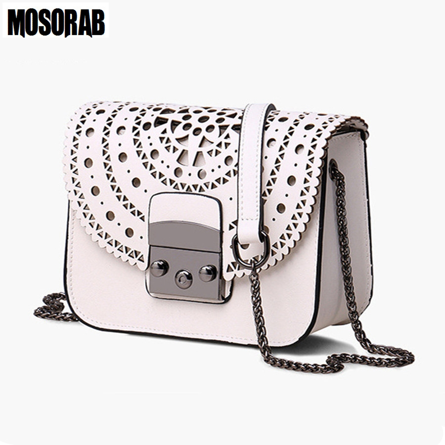MOSORAB Fashion Women Small Bags Hollow Out Leather Women Crossbody Bag Famous Brand Ladies Messenger Shoulder Bag Clutch Purse