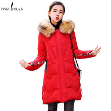 PinkyIsBlack Winter Jacket Women Fur Hooded Cotton Padded Long Parkas Winter Coat Women Jaqueta Feminina Inverno Chaqueta Mujer цена
