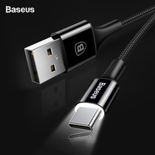 Baseu LED Light Type-c USB C Cable Data Sync USB-C Type C Charger For Samsung S9 S8 Oneplu
