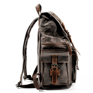 Image 4 - Retro Canvas Mens Backpack Travel Backpacks Tooling Locomotive Computer Bag Europe and The United States Large Capacity Leather