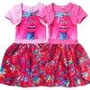 2017 New Summer Baby Girls Dress Children Dress Fashion Cartoon Trolls Clothes Kids Tutu Dress For Girl