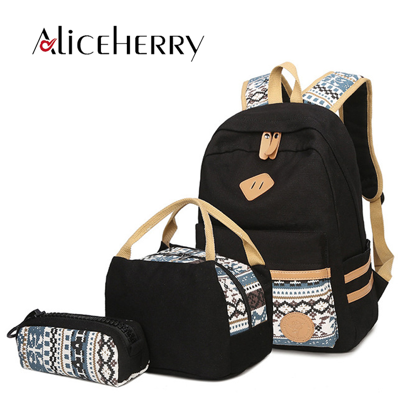 0bf6dfeef8 Women Canvas Backpack Printing School Bags Laptop Backpack For Teenage  Girls Mochila Feminina 3 PCS Set
