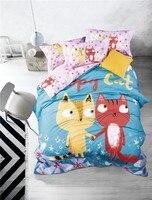 IvaRose Lindo conejo tela niños sábana juego de cama de algodón reina king size edredón funda de almohada colcha casa texile