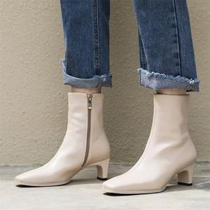 Image 4 - FEDONAS en kaliteli kadın temel çizmeler yan fermuar sıcak yüksek topuklu sonbahar kış bayanlar ayakkabı kadın seksi kare ayak ofis pompaları