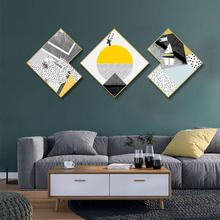 Creative irregular 3pcs/set INS Abstract geometric living room background wall painting corridor mural Hotel decorative