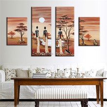 Hand Painted Large Abstract africa landscape Oil Painting woman wall Picture trible life art On Canvas 4 panels