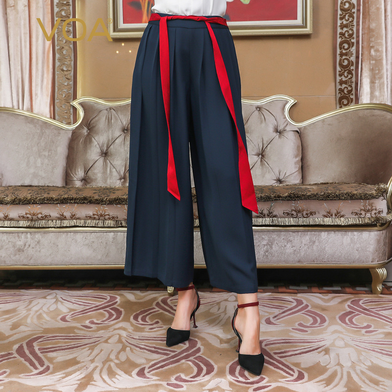 Dames La Lâche Femme Streetwear Broeken Large Taille K861 Luxe De Soie Pantalon Plus Femmes Bleu Palazzo Jambe Voa Casual Ceinture wnYfaZ6n