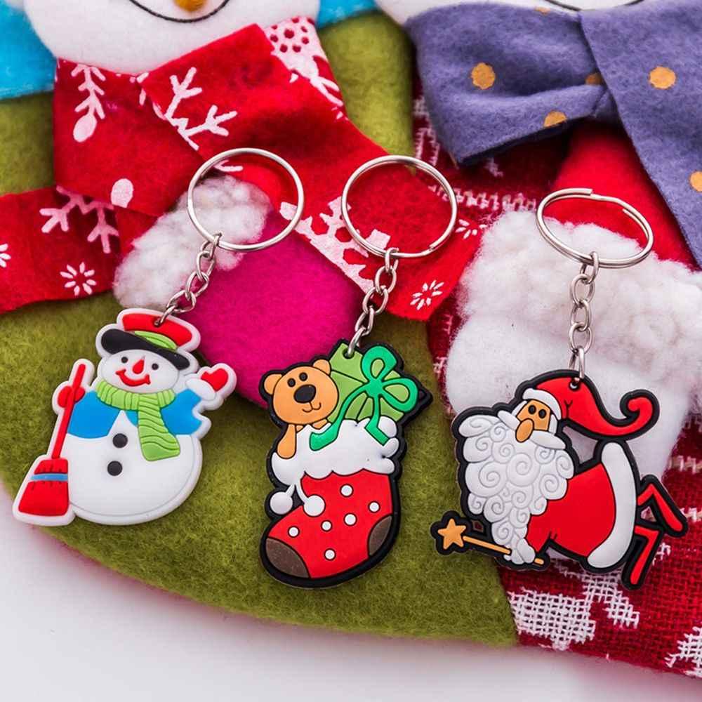 Bonito christmaas presente chaveiro jóias dos desenhos animados papai noel boneco de neve veados árvore de natal charme chave chian feminino carro chaveiro