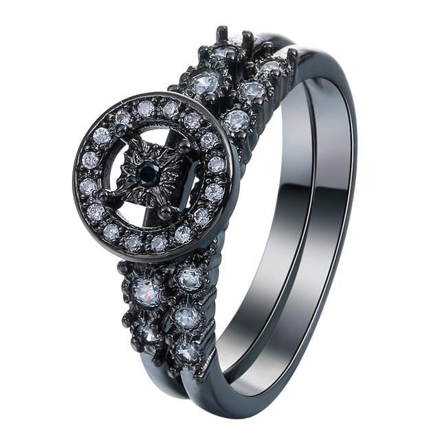 Round Hollow Clock Design Vintage Black Promise Rings Set