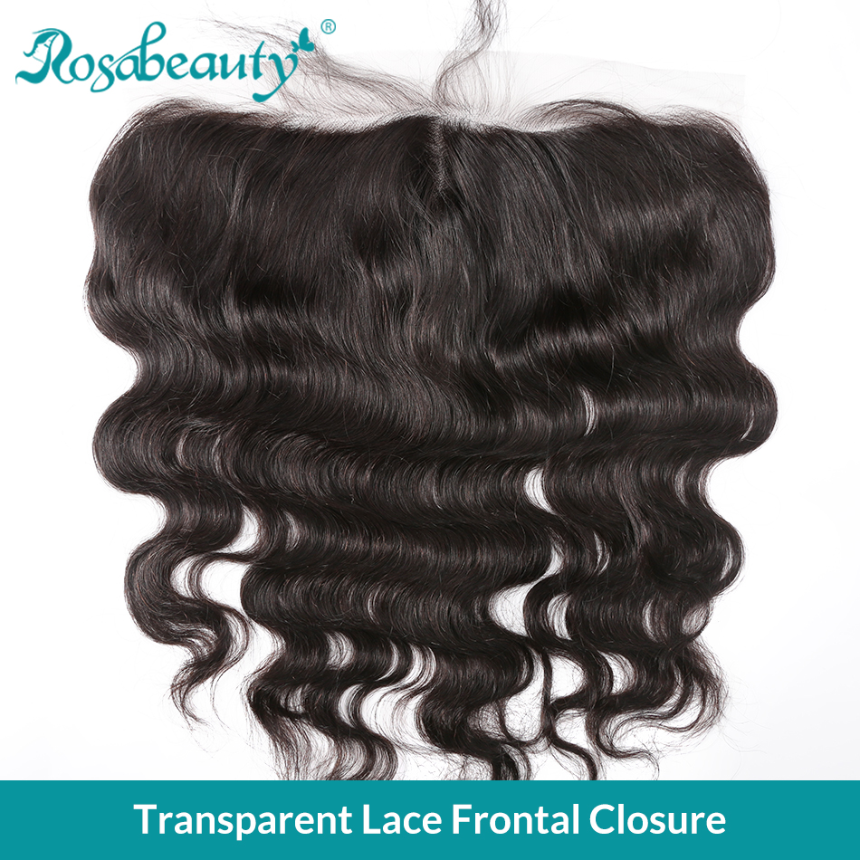 Rosa Beauty Transparent Lace Frontal Closure 13x4 Body Wave Pre Plucked With Baby Hair Brazilian Virgin Human Hair Black Women