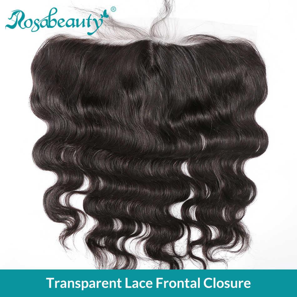 Rosa belleza transparente encaje Frontal cierre 13x4 onda del cuerpo Pre desplumado con pelo de bebé brasileño virgen cabello humano las mujeres negras
