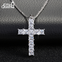 Effie Queen Cross Pendant Necklace Silver Chain for Women's Clothing & Accessories Crystal Necklace Fashion Jewelry Gift WN56