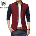 Fire Kirin Blazer Men 2017 Chinese Collar Suit Slim Fit Casual Blazers Men Fashion Patchwork Male Jacket Brand Clothing Q247