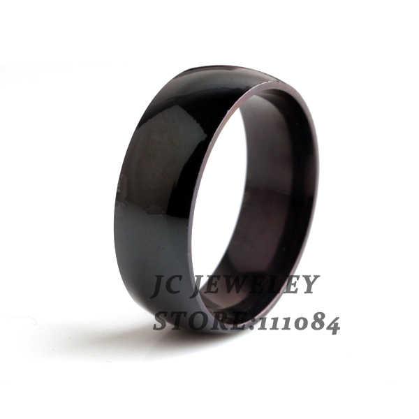 จัดส่งฟรีกว้าง 8 มม.สีดำแหวน 316L สแตนเลสแหวนผู้ชายเครื่องประดับขายส่ง
