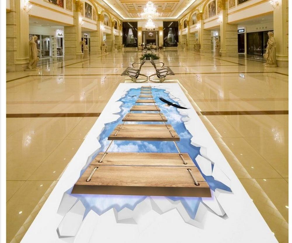 ФОТО 3d wallpaper waterproof pvc wallpaper 3d Sky Wooden Bridge 3D Floor 3d wallpaper pvc bathroom waterproof wallpaper