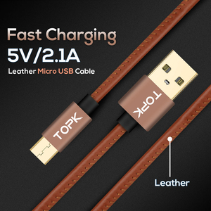 Image 2 - TOPK [5 Pack] Micro USB Cable PU Leather Metal Plug Data Cable For Samsung S7 edge Xiaomi Redmi 4X