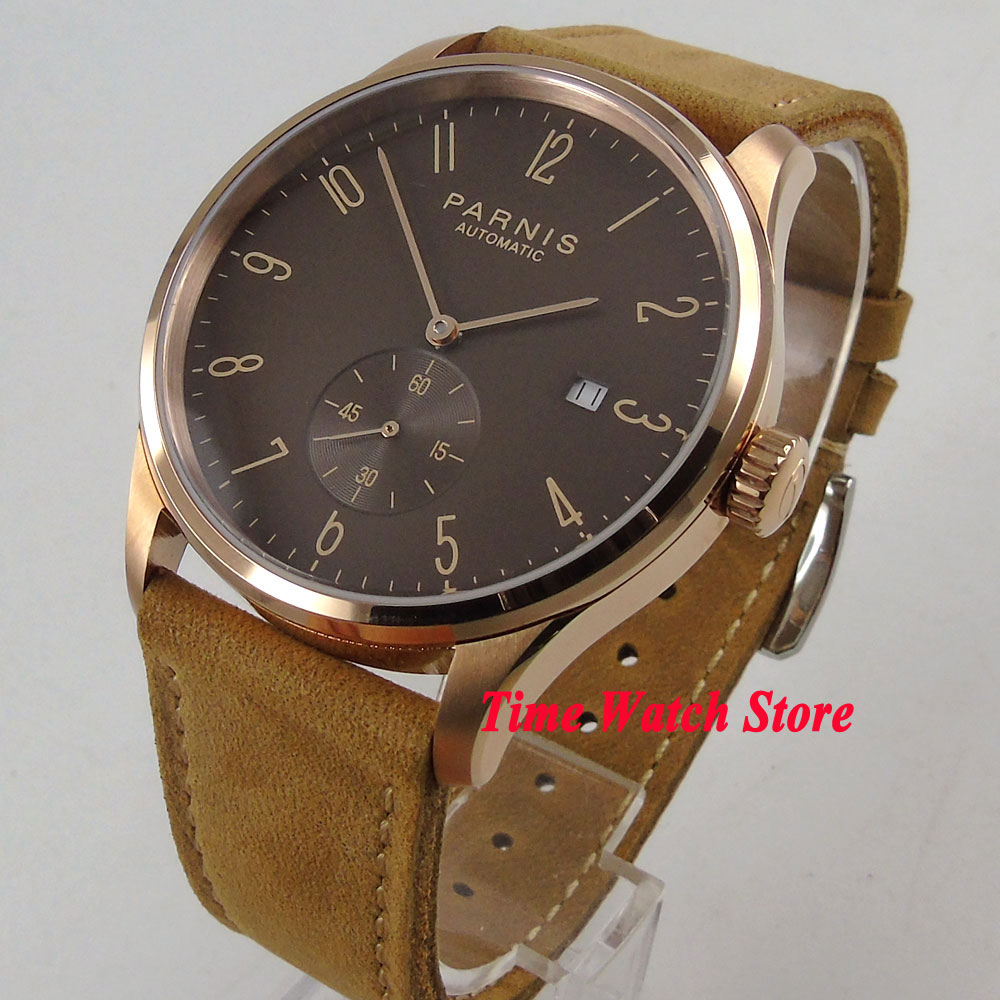 Parnis mens watch 42mm Rose golden case coffee dial date 5ATM ST1731 Automatic movement wrist watch men 957Parnis mens watch 42mm Rose golden case coffee dial date 5ATM ST1731 Automatic movement wrist watch men 957