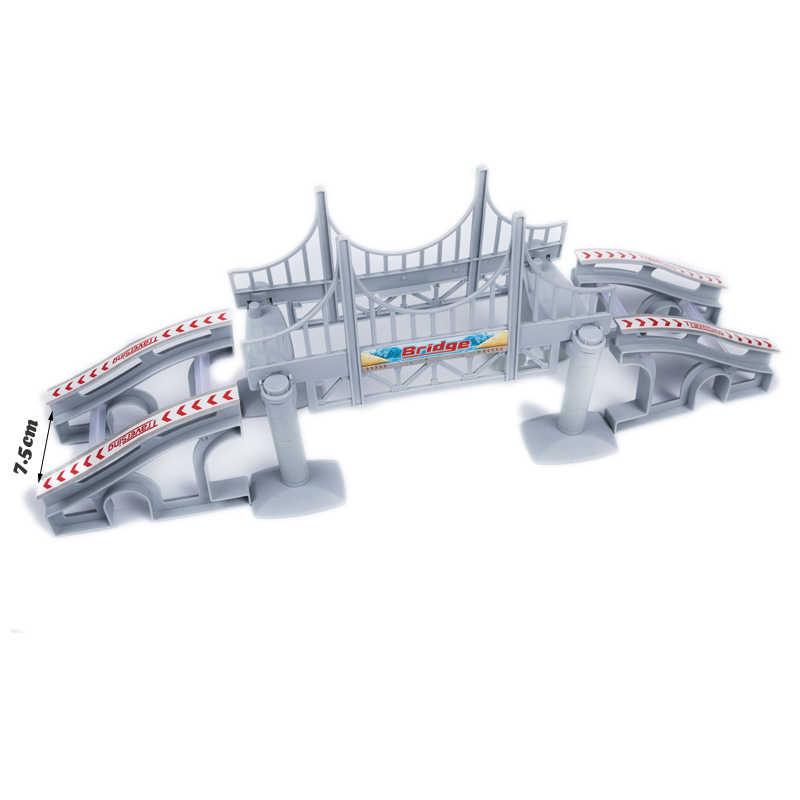 Sihirli parlayan yarış parça DIY evrensel aksesuarları rampası dönüş yol köprü kavşak demiryolu araba oyuncak yarış pistleri çocuklar hediyeler