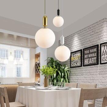 BDBQBL Moderne LED Anhänger Lichter Schwarz/Weiß/Goldene Glas Lampenschirm Schlafzimmer Hängen Lampe E27/G9 Lampe Loft Wohnzimmer Hanglamp