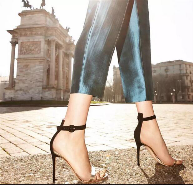 Newest Style Factory Price Sexy Black Suede Ankle Wrap Open Toe Sandals Party Dress Stiletto High Heels Rome Designed Pumps цены онлайн