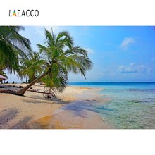 Laeacco Tropical Sea Beach Palm Tree Cloudy Scenic Photographic Backgrounds Photography Backdrops Photocall  Photo Studio