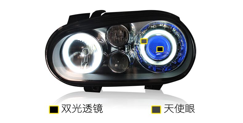 Headlight Assembly for Volkswagen Golf 4 MK4 HID headlight with xenon projector lens led angel eye led devil eye and hid ballast headlight for kia k2 rio 2015 including angel eye demon eye drl turn light projector lens hid high low beam assembly