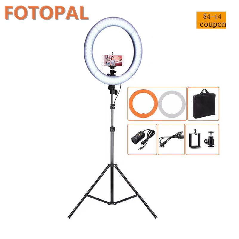 Fotopal Ring Light 240 pcs LED Video Studio Light Lighting For Camera Photo Phone Photgraphy Fill Light Annular Lamp With Tripod remax phone flash light led fill light for smartphones black