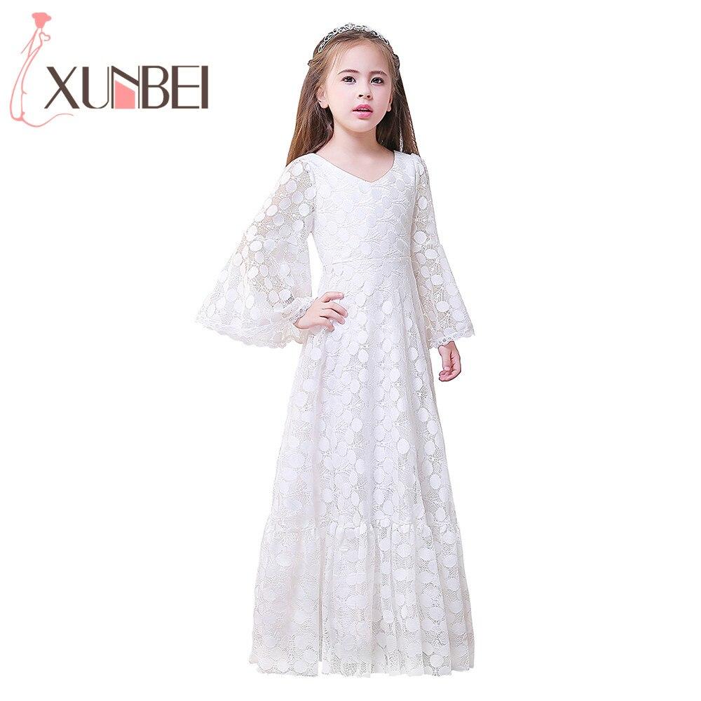 Pretty V Neck 34 Flare Sleeves Long Flower Girl Dresses 2017 Little