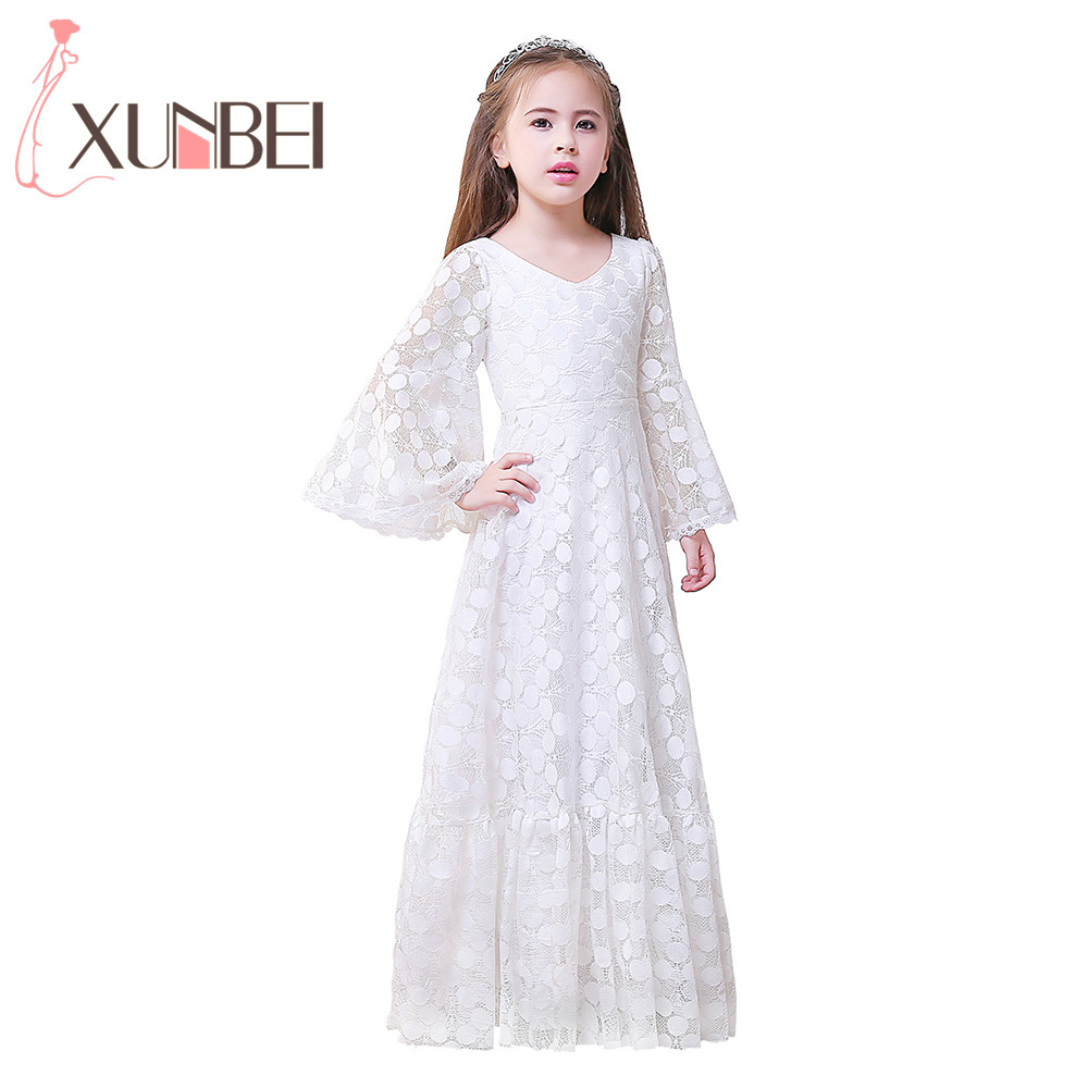 Pretty V-Neck 3/4 Flare Sleeves Long   Flower     Girl     Dresses   2017 Little   Girl     Dresses   Kids Evening   Dress   Communion   Dress