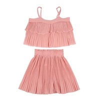 Summer Baby Girls Chiffon Costume Sets Summer Sleeveless Camisole Tops + Pleated Shorts Suits 2 PCS