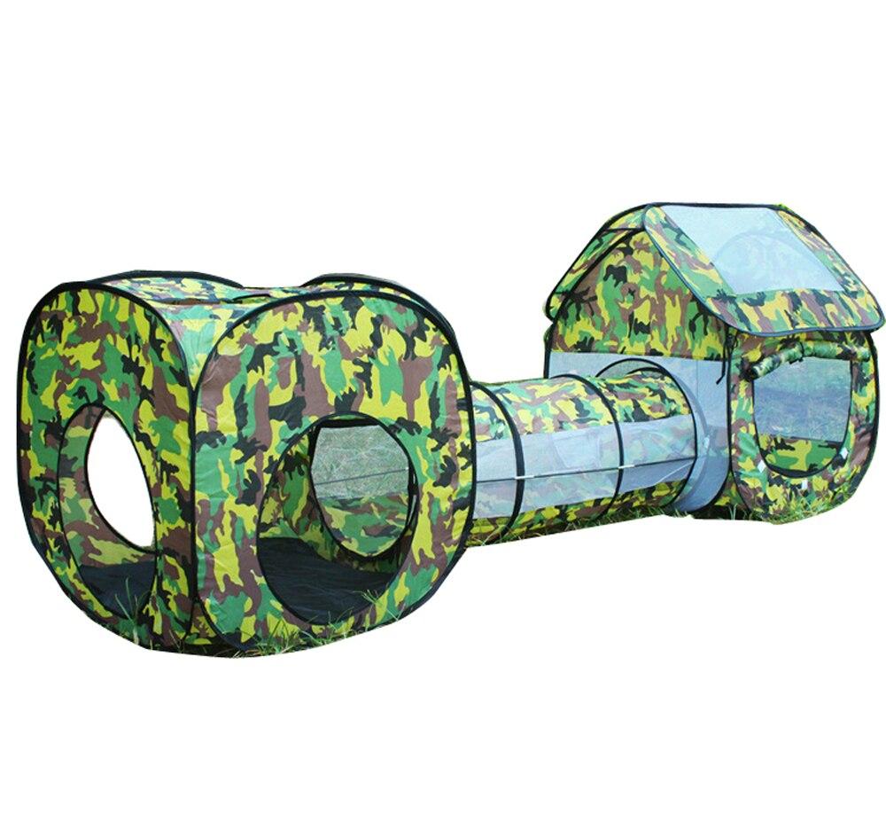3 en 1 enfants Camouflage jouets tente bébé carré Cubby tipi Pop up Tunnel ramper tente ensembles enfants extérieur intérieur Playhouse cabane