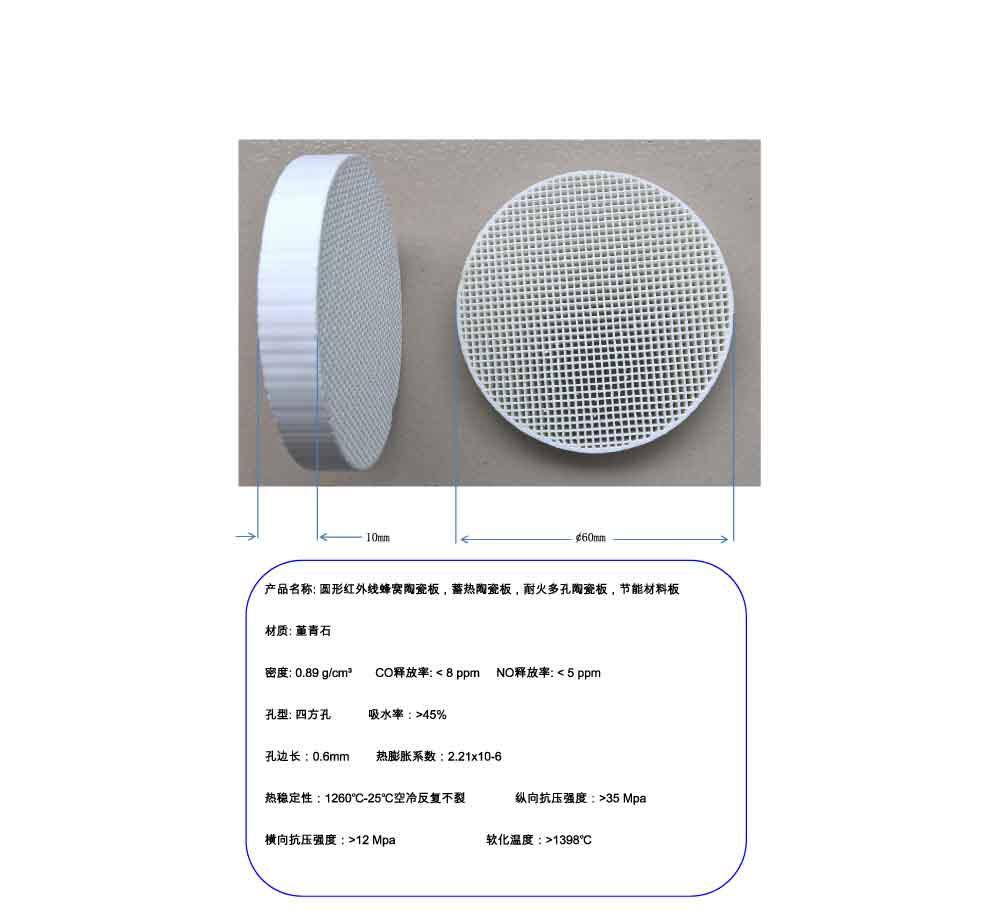 Circular Infrared Honeycomb Ceramic Plate, Regenerative Ceramic Plate, 60mm Refractory Porous Plate regenerative nephrology