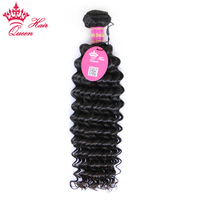 Queen Hair Products Virgin Human Hair 1 Piece Deep Wave Bundles Unprocessed Brazilian Human Hair Weave Double Weft Natural Color