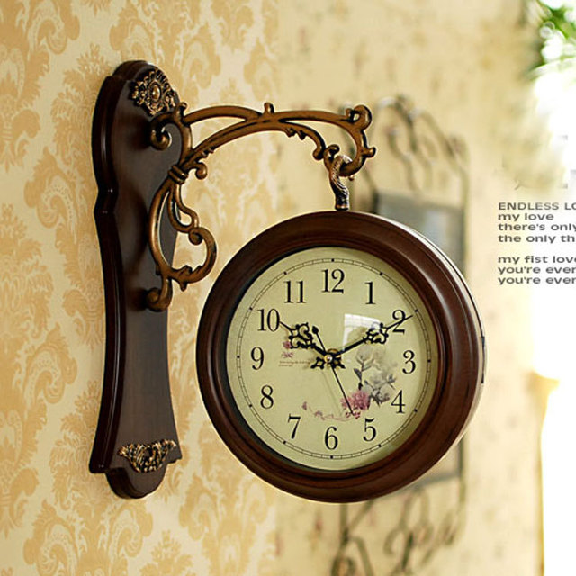 Double Sided Wall Clock Nostalgic French Wall Clock Vintage ...