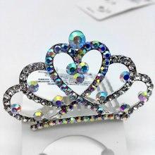 Handmade Crown hair combs Bridal women crystal rhinestone girl tiara  head jewelry wedding party accessories hair ornaments W41
