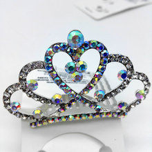 Handmade Crown hair combs Bridal women crystal rhinestone girl tiara head jewelry wedding party accessories hair ornaments W41