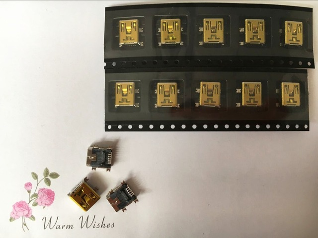 10 teile/los Mini usb-anschluss buchse typ B 5pin PCB montage SMD weiblich jack 2,0