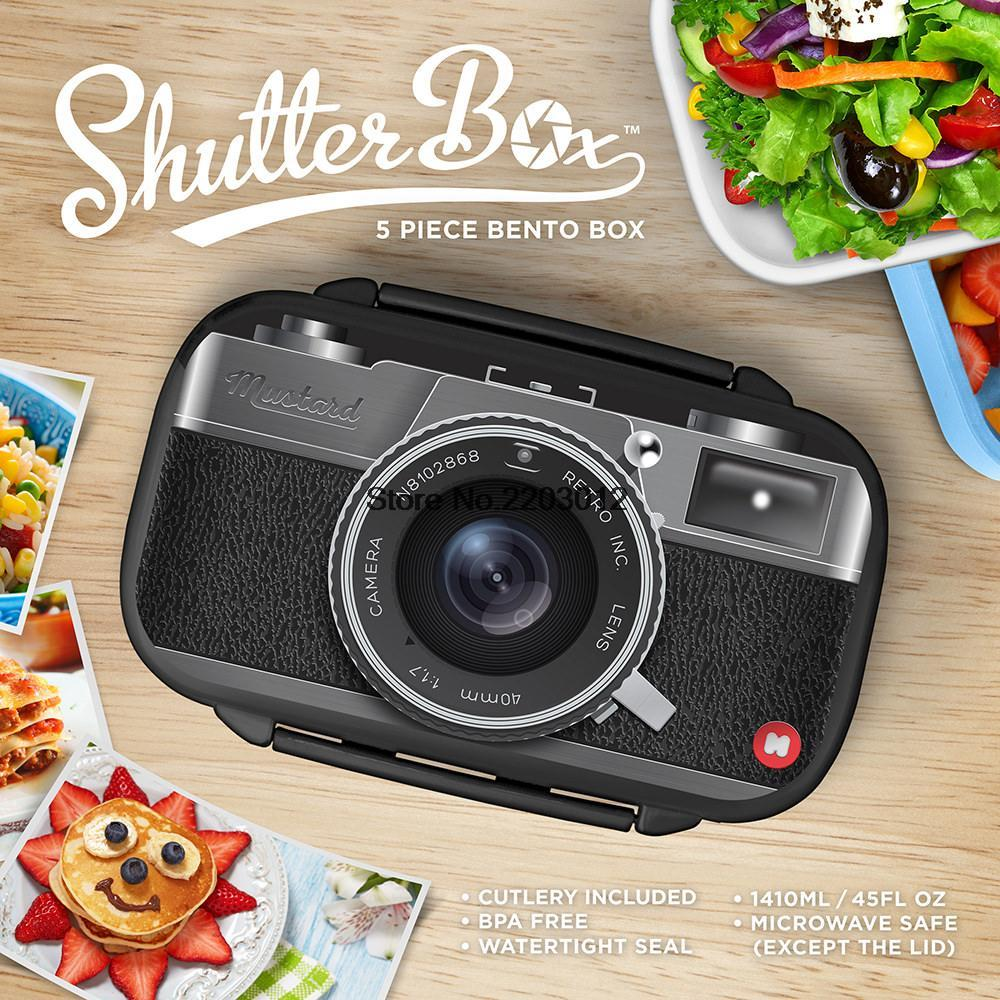 Box Camera Radio Plastic Sushi Lunch Bento Microwavable With Spoon Fork Office School