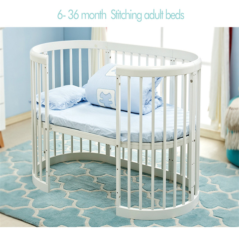 Brand Baby Bed Eco-friendly Baby Crib Round Bed EU Style Multifunctional Baby Game Bed Solid Wood Circular Bed Chair Table